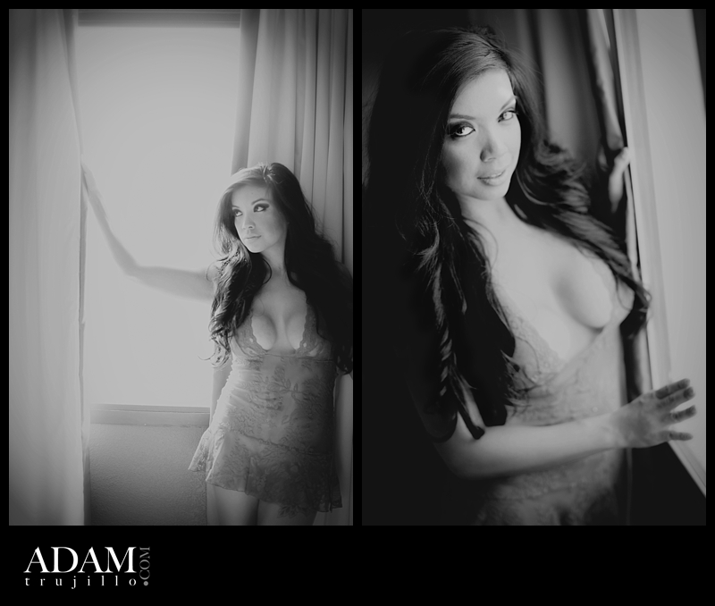 Las Vegas boudoir photographer AC 002 AC Steaming up her Boudoir photography set.