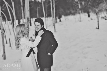 Black and White Mount Charleston Snowy Engagement Pictures