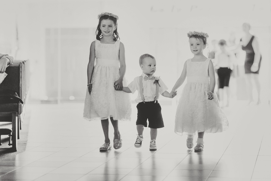 St Thomas Moore Catholic Wedding Ceremony Photography Pictures, Church Las Vegas Wedding Photographer, Ring Bearer and Flower Girls black and White.