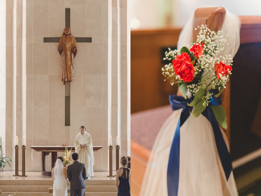 St Thomas Moore Catholic Wedding Ceremony Photography Pictures, Church Las Vegas Wedding Photographer, Wedding Ceremony Red flower details.