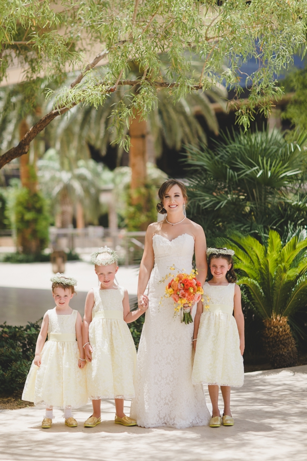 M Resort Las Vegas Wedding Photographer, Bridal Party Pictures, Flower Girls and Bride Picture Portraits, yellow wedding shoes and Yellow and Orange flower Bridal Bouquet.