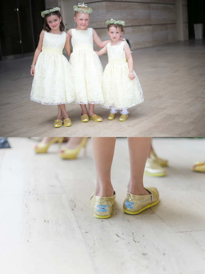 M Resort Las Vegas Wedding Photographer, Bridal Party Pictures, Flower Girls Pictures, Yellow and Green Flower headpiece and Yellow Sequin Toms.