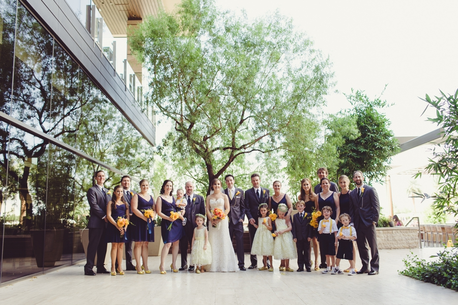 M Resort Las Vegas Wedding Photographer, Bridal Party Pictures, Blue Bridesmaid dress and Groomsmen Grey suits