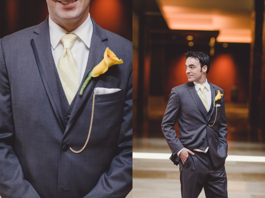 M Resort Las Vegas Wedding Photographer, Bride and Groom Pictures, Groom Grey Suite, Yellow Boutonniere and Yellow Tie.