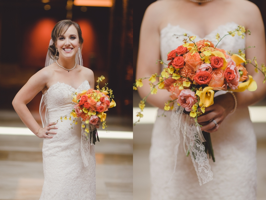 M Resort Las Vegas Wedding Photographer, Bride Pictures with Orange, Yellow and Pink Bridal Flower Bouquet.  Couture Bride Wedding Dress Las Vegas.