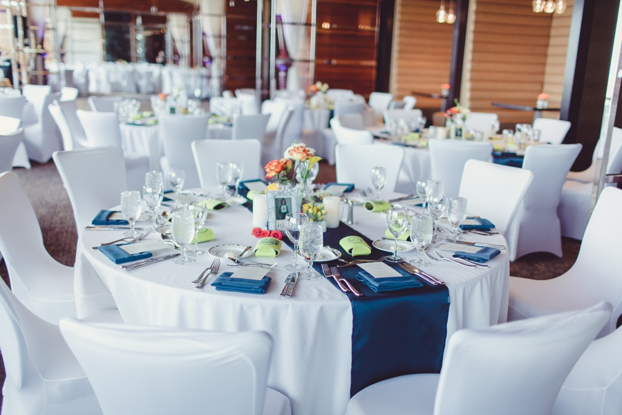 M Resort Lux Ballroom Pictures.  Las Vegas Wedding Photographer, Blue, White and Yellow Wedding Reception Table Details.