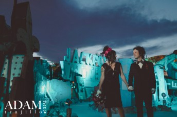 Las Vegas Wedding Photographer, Neon Boneyard Museum. Billie Joe Armstrong Wedding Green Day.